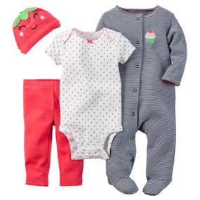 Carter's Baby Girls 4 Piece Layette Set, Strawberry