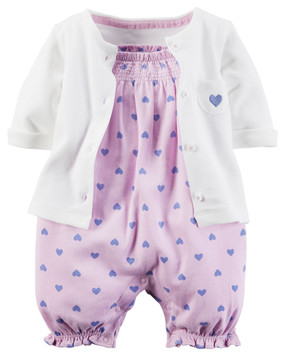 Carter's Baby Girls 2 Piece Romper Set, Lilac Heart