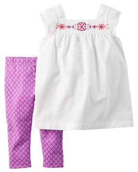 Carter's Baby Girls 2‑pc. Geo‑Print Top and Capris Set, White