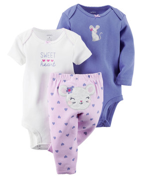 "Carter's Baby Girls 3-pc. ""Sweet Heart"" Mouse Set, Lilac"