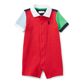 Ralph Lauren Baby Boys Color Blocked Cotton Short Sleeve Shortall