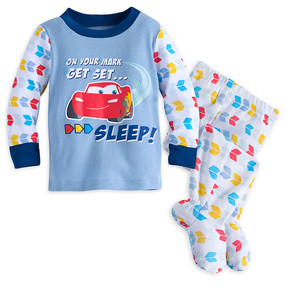 Disney Store Baby Boys Lightning McQueen Cars Footed PJ Pals Pajama Set, Blue