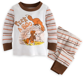 """Disney Store The Fox and The Hound """"Peek A Boo"""" PJ Pals Pajama Set for Baby"""