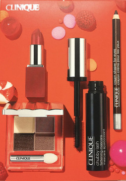 Clinique Cherry On Top Set: All About Shadow Quad, Cream Shaper, Chubby Lash Mascara,  Pop Lip Colour