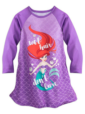 "Disney Store Girls Ariel - The Little Mermaid - ""Wet Hair Don't Care"" Nightshirt"