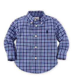 Ralph Lauren Baby Boys Blue Plaid Long Sleeve Shirt