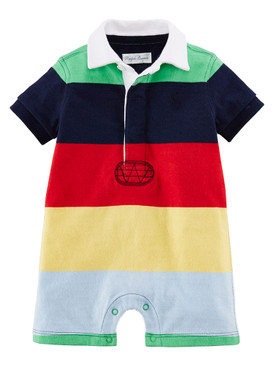 Ralph Lauren Baby Boys Cotton Jersey Rugby Short Sleeve Multicolor Shortall