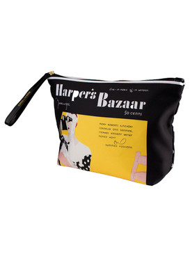 "Estee Lauder ""Harper's Bazaar"" Black & Yellow Pouch Cosmetic Makeup Travel Bag"