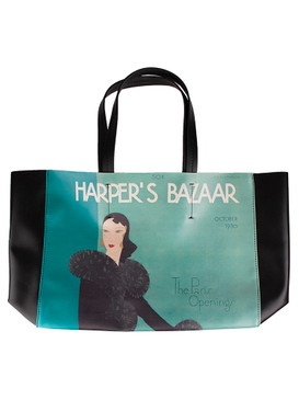 "Estee Lauder ""Harper's Bazaar The Paris Opening"" Blue & Black Tote Bag"