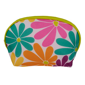 Clinique Orange, Blue and Purple Flowers Cosmetic Makeup Travel Bag