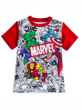 Disney Store Boys Marvel Comics T-Shirt, White/Red