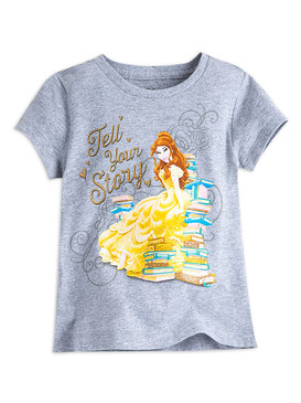 """Disney Store Girls Belle - The Beauty & the Beast - """"Tell Your Story"""" T-Shirt"""