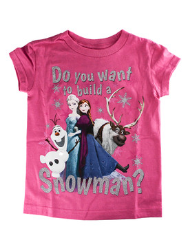 "Disney Store Girls Anna & Elsa Frozen ""Do You Want to Build a Snowman?"" T-Shirt"