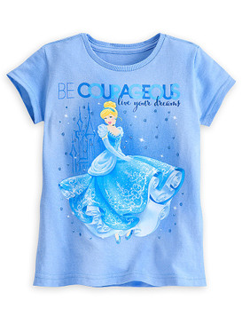 "Disney Store Girls Cinderella ""Be Courageous Live Your Dreams"" T-Shirt, Blue"