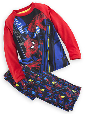 "Disney Store Boys Marvel Spider-Man ""Sleep Mask"" Pajamas Long Sleeve/Pants Set"