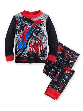 Disney Store Boys Marvel Spider-Man Night Crawler PJ Pals Long Sleeve Pajama Set