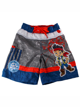 Disney Store Boys Jake and The Never Land Pirates Swim Trunks, Blue/Orange