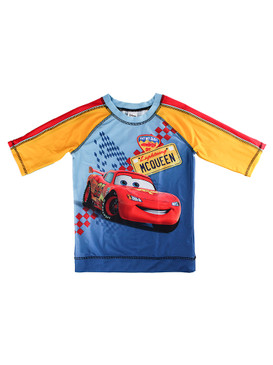 "Disney Store Boys Cars Lightning McQueen ""Eat by Dust 95"" Rash Guard Swim Shirt"