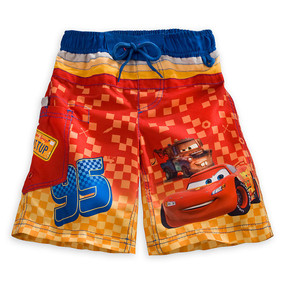 "Disney Store Boys Cars Lightning McQueen with Mater ""Racer"" Swim Trunks"