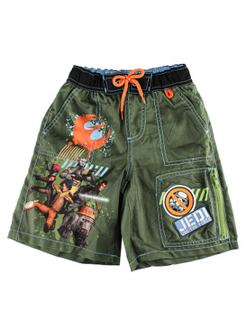 "Disney Store Boys Star Wars Rebels ""Dive into adventure!"" Swim Trunks, Green"
