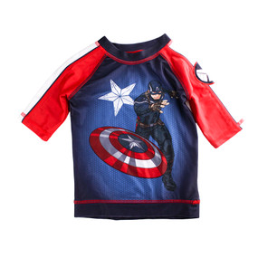 Disney Store Boys Captain America w/Shield Flag Rash Guard