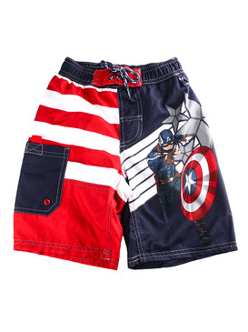 Disney Store Boys Captain America w/ Shield Swim trunks, Red &Navy