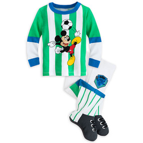 Disney Store Baby Boys Mickey Mouse Soccer Long Sleeve PJ Pals Pajama, Green