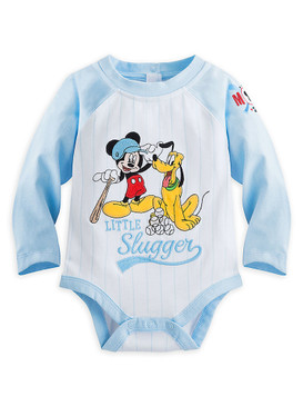 "Disney Store Mickey Mouse & Pluto ""Little Slugger"" Long Sleeve Bodysuit for Baby"