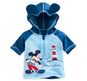"Disney Store Mickey Mouse ""Beach Baby"" Rash Guard Shirt for Baby"