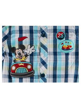Disney Store Baby Boys Mickey Mouse Woven Bumper Car Romper Short Sleeve