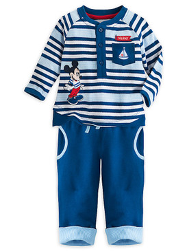 "Disney Store Baby Boys Mickey Mouse ""Ahoy Cutie"" Shirt & Sweatpants Knit Set"
