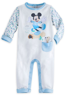 "Disney Store Baby Boys Mickey Mouse ""Hello Little Friend"" Knit Romper, White"