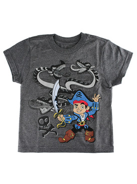 Disney Store Boys Jake &The Never Land Pirates Short Sleeve T-Shirt, Gray