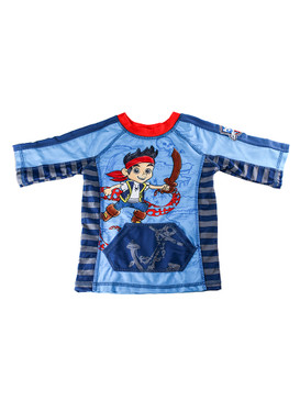 Disney Store Boys Jake & The Never Land Pirates Rash Guard, Blue/Red