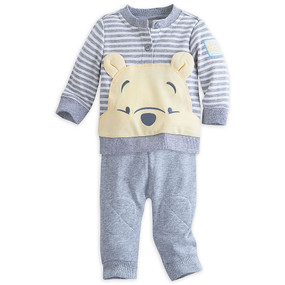 "Disney Store Winnie the Pooh ""All Ears"" Long Sleeve Top & Pants Baby Knit Set"