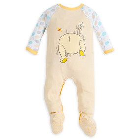 Disney Store Baby Winnie the Pooh Long Sleeve Stretchie Sleeper, Yellow
