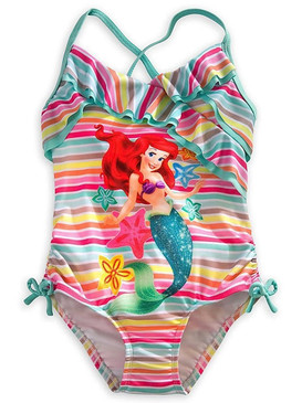 Disney Store Girls Ariel - The Little Mermaid - Rainbow Swimsuit, Multicolor