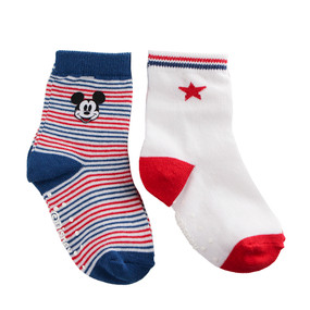 Disney Store Mickey Mouse Sock Set for Baby 2-Pack White/Red/Blue
