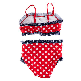 Disney Store Girls Minnie Mouse Dots & Ruffles 2-Piece Swimsuit, Red/Blue