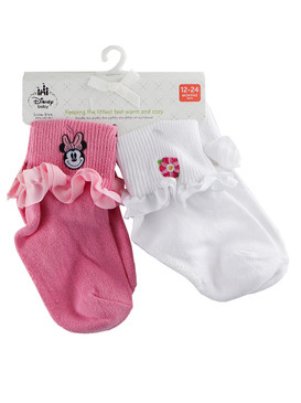 Disney Store Baby Girls Minnie Mouse 2-Pack Socks Set, Pink/White