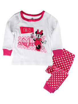 "Disney Store Baby Girls Minnie Mouse ""I'm a Cutie Pie"" PJ PALS Pajama Set, Pink"