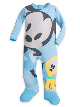 Disney Store Baby Boys Mickey Mouse & Pluto Long Sleeve Sleeper, Blue