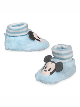 Disney Store Baby Boys Mickey Mouse Plush Slippers, Blue