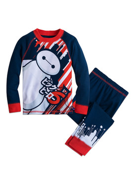 Disney Store Boys Baymax - Big Hero 6 - Long Sleeve PJ PALS Pajama Set, Blue