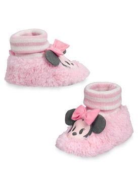 Disney Store Baby Girls Minnie Mouse Plush Slippers, Pink