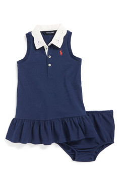 Ralph Lauren  Eyelet Collar Sleeveless Polo Dress & Bloomers for Baby Girls