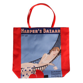 "Estee Lauder ""Harper's Bazaar Summer Fashion Numbers"" Orange & Blue Tote Bag"