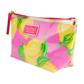"Estee Lauder ""Lily Pulitzer"" Pink with Limes Cosmetic Makeup Travel Bag"