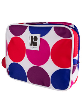 "Estee Lauder ""Lisa Perry"" Multi-Color Polka Dots Cosmetic Makeup Travel Bag"