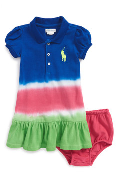 Ralph Lauren Baby Girls Dip Dye Cotton Mesh Polo Dress & Bloomers